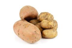 Patate e patata dolce fotografie stock