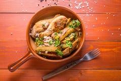 Patate e pollo ountry di stile del ¡ di Ð Fotografia Stock