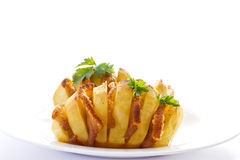 Patate farcite con pancetta affumicata Immagine Stock