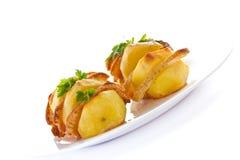 Patate farcite con pancetta affumicata Fotografia Stock Libera da Diritti