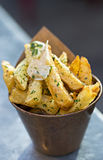 Patate fritte dell'aglio fotografie stock libere da diritti
