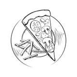 Patate fritte e schizzo italiano della pizza di merguez Immagini Stock Libere da Diritti
