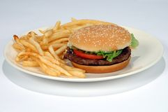 Patate fritte ed hamburger su una zolla Immagine Stock Libera da Diritti