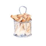 Patate fritte in grasso bollente nel pacchetto Isolato su priorità bassa bianca Fotografie Stock Libere da Diritti