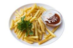 Patate fritte, isolate Fotografia Stock Libera da Diritti