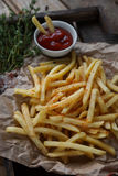 Patate fritte, patate fritte, insieme degli alimenti a rapida preparazione Immagini Stock