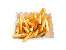 Patate fritte, patatine fritte fritte isolate su fondo bianco Immagini Stock Libere da Diritti
