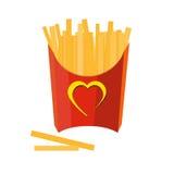 Patate fritte su priorità bassa bianca Illustrazione di Stock
