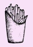 Patate fritte in un pacchetto, alimenti a rapida preparazione Immagine Stock