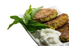 Patate grattugiate/in padella dello zucchini Immagini Stock Libere da Diritti