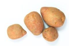 Patate rosse fresche di vista superiore di concetto dell'alimento biologico su fondo bianco Fotografia Stock Libera da Diritti
