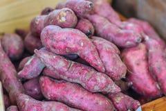 Patates douces japonaises organiques à vendre à la marque fraîche locale Photographie stock libre de droits