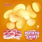Patatine fritte che annunciano sapore del bacon Vettore d'imballaggio di progettazione Fotografia Stock