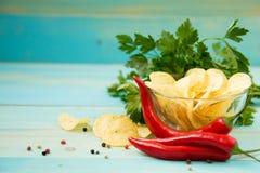 Patatine fritte con piccante Fotografia Stock Libera da Diritti