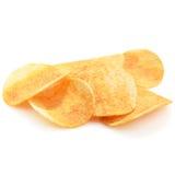 patatine fritte croccanti di sapore caldo e piccante su bianco Fotografia Stock Libera da Diritti
