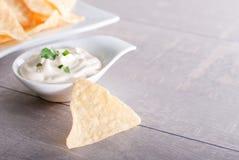 Patatine fritte immerse in salsa Fotografia Stock Libera da Diritti