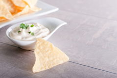Patatine fritte immerse in salsa Immagine Stock Libera da Diritti