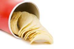 Patatine fritte isolate sopra bianco Fotografie Stock