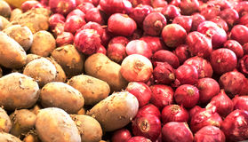 Patatoes e cebolas Fotografia de Stock