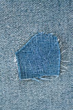 Patch. Fragment of blue modern jeans with patch, can be used as a background royalty free stock photography