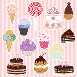 Patch badges collection wits cakes, sweets and ice cream Royalty Free Stock Image