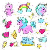 Patch badges with hearts, unicorn, clouds, cats, Stock Image