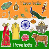 Patch badges in Indian style. Set of stickers, pins, patches. Stock Photo