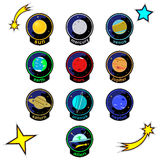Patch badges with planets of solar system, stars, comets and alien spaceship. Vector patches for kid. Royalty Free Stock Image