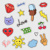 Patch badges set. Stickers, pins, patches with stars, sun, lips, cat, ice-cream and handwritten notes Royalty Free Stock Photos