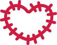 Patch with big stitches heart shape. Vector Royalty Free Stock Images