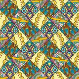 Patch Boho Flower Seamless Pattern. Mandala patchwork, oriental design. Wallpaper, furniture textile, fabric print, tile deco. Vector background Stock Photos
