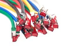 Close-up view of a bunch of colorful Ethernet patch cables Royalty Free Stock Photos