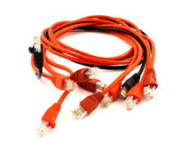 Patch cords. Roll of red telecommunication cables with endings Royalty Free Stock Images