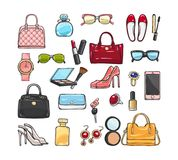 Collection of Fashion Accessories. Women Things. Patch of fashion accessories. Woman items and accessories. Collection of bags, shoes, high heels, sun glasses Royalty Free Stock Image