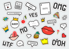 Patch fashion collection. Popular phrases: Omg Yes No Wtf Doh. Stock Photography