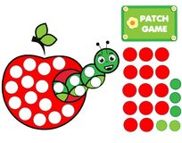 Patch game for children. Educational activity for kids and toddlers. Caterpillar in apple stock illustration
