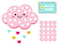 Patch game for children. Educational activity for kids and toddlers with cute cloud for motor skills. Patch game for children. Educational activity for kids and royalty free illustration