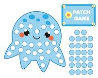 Patch game for children. Educational activity for kids and toddlers. Cute octopus. Patch game rainbow for children. Educational activity for kids and toddlers Royalty Free Stock Images
