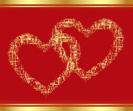 Patch-Heart in gold. Royalty Free Stock Photo
