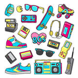 Patch Icons of 80 s. On White Limited Background. Royalty Free Stock Photos