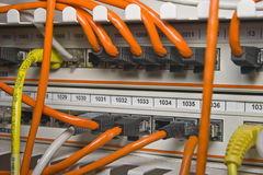Patch panel. With patch cord cables Royalty Free Stock Photo