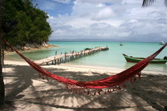 A patch of paradise. Still not invaded by crowd with two hotels and no cars on island, Île à Vache (Cow Island) is a must Stock Image