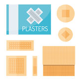 Patch plaster vector. Adhesive patch plasters isolated on white background. Vector aid protection bandage medical. Help care emergency sticky injury assistance Royalty Free Stock Image
