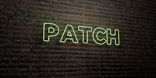 PATCH -Realistic Neon Sign on Brick Wall background - 3D rendered royalty free stock image. Can be used for online banner ads and direct mailers Royalty Free Stock Images