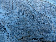 Patch of rough canvas on board a wooden boat stock image