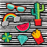 Patch set with cute cartoon illustrations Royalty Free Stock Photography