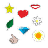 Patch set.  Yellow star , red lips , hand cool , diamond Stock Image