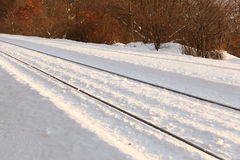 Patch in snow - railroad in winter Royalty Free Stock Image