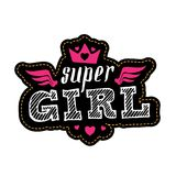 Patch for t-shirt with inscription Super. Fashion badge with cro Stock Photography