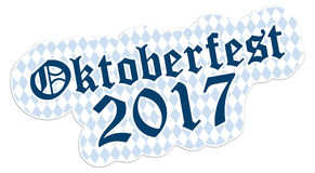 Patch with text Oktoberfest 2017. Patch with checkered pattern and text Oktoberfest 2017 Royalty Free Stock Photo